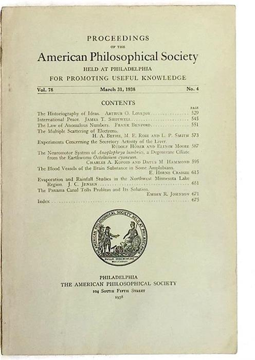 Benford's Law: The Law of Anomalous Numbers [Proceedings of the American Philosophical Society, 1938]