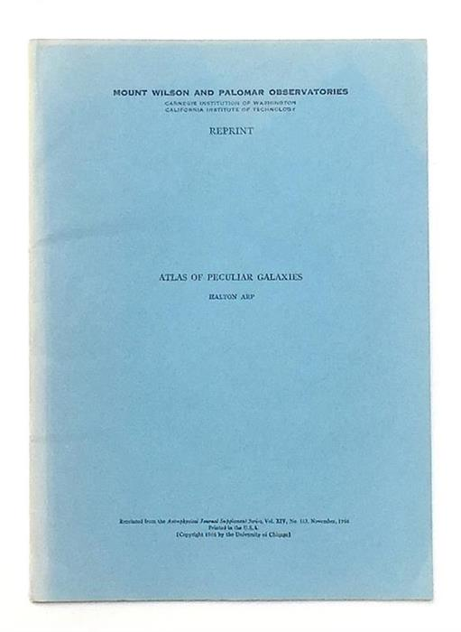 Extremely rare offprint: Atlas of Peculiar Galaxies [The Redshift Controversy] 1966, The University of Chicago Press