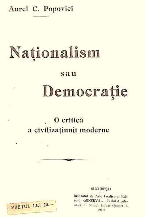 Nationalism sau democratie. O critica a civilizatiunii moderne