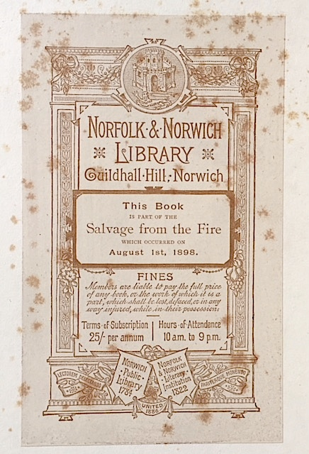 Norfolk & Norwich Library Salvage Bookplate