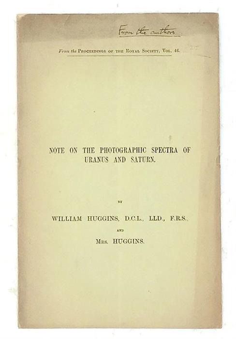 Note on the Photographic Spectra of Uranus and Saturn - inscribed ''From the Authors''
