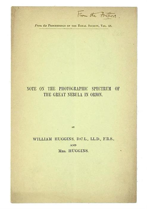 Note on the Photographic Spectrum of the Great Nebula in Orion, 1890, Inscribed ''From the Authors''