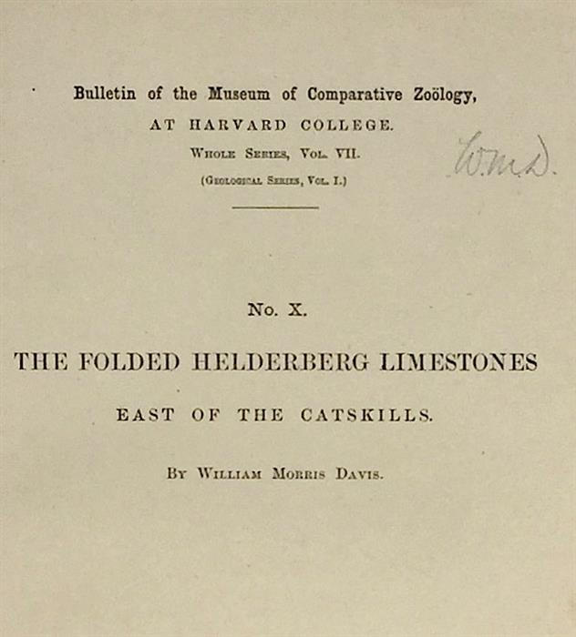 Offprint inscribed by William Morris Davis