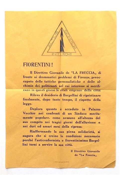 Rare leaflet / volantino - The 1966 flood of the Arno in Florence / Alluvione di Firenze del 4 novembre 1966