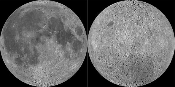 The side of the Moon facing the Earth (left) is very different than the side facing away (right). Why? Photo by NASA/GSFC/Arizona State University